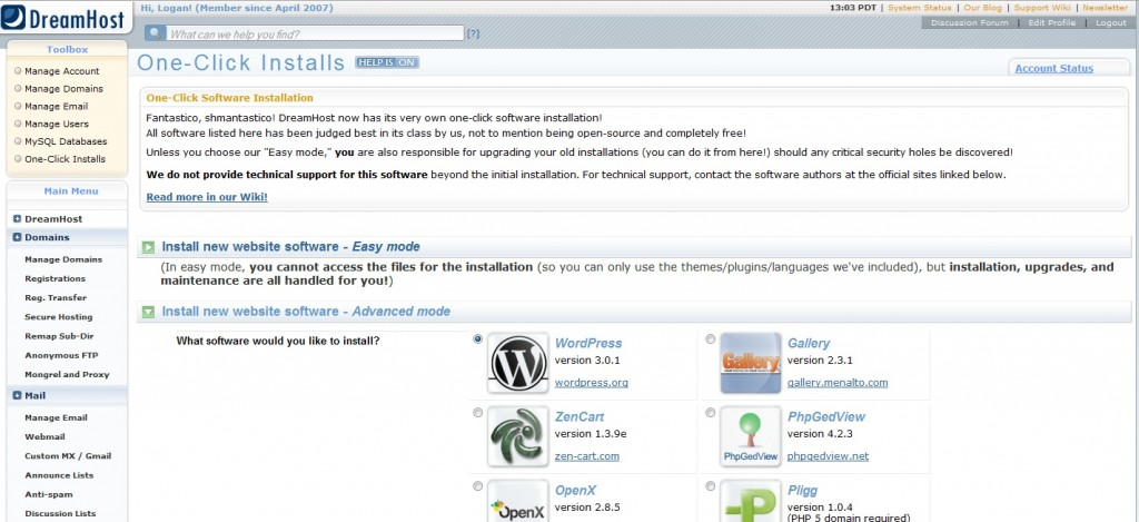 One Click Install on Dreamhost